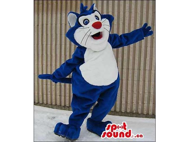 Cute Blue Cat Canadian SpotSound Mascot With A White Belly And A Red Nose