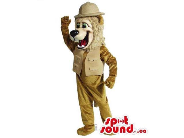 Beige Lion Animal Canadian SpotSound Mascot Dressed In Explorer Vest And Hat
