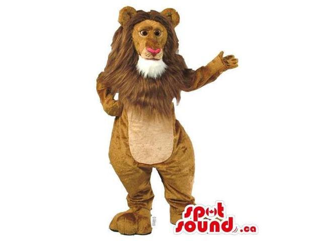 Beige And Brown Lion Canadian SpotSound Mascot With Red Nose And White Beard