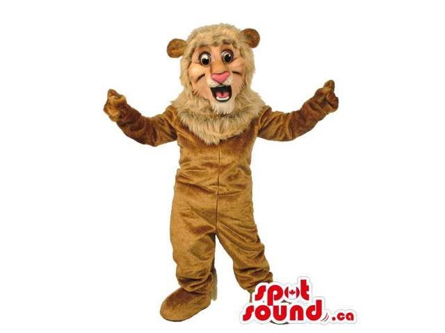 Light Brown Lion Animal Canadian SpotSound Mascot With Pink Nose And Round Ears