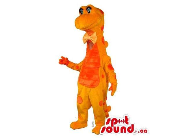 Bright Orange Dragon Plush Canadian SpotSound Mascot With A Red Belly And Spots