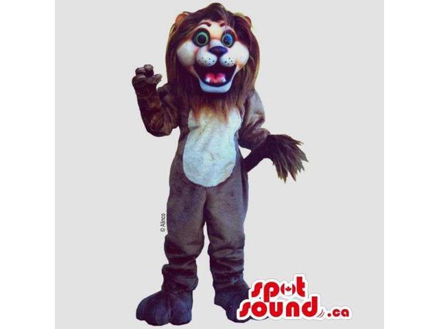 Brown And Beige Lion Canadian SpotSound Mascot With White Belly And Green Eyes