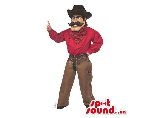 Human Cowboy Canadian SpotSound Mascot Dressed In A Cowboy Hat And Red Shirt