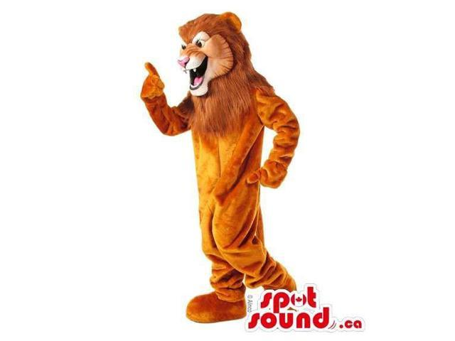 All Brown Lion Animal Canadian SpotSound Mascot With Pink Nose And Fangs