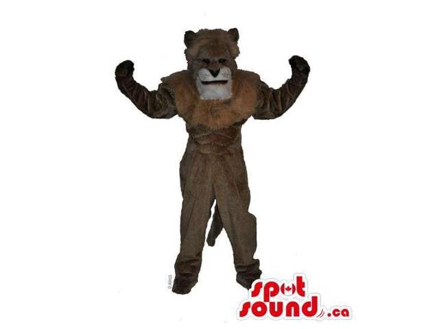 All Brown Lion Animal Canadian SpotSound Mascot With Strong Muscles