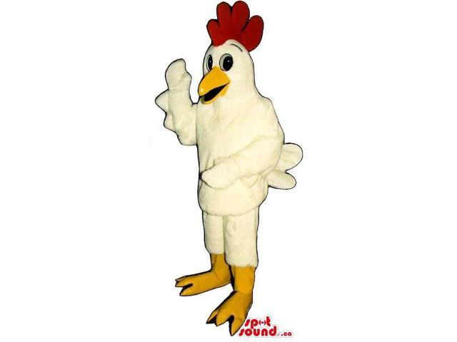 Peculiar Human Size White Hen Plush Canadian SpotSound Mascot With A Red Comb