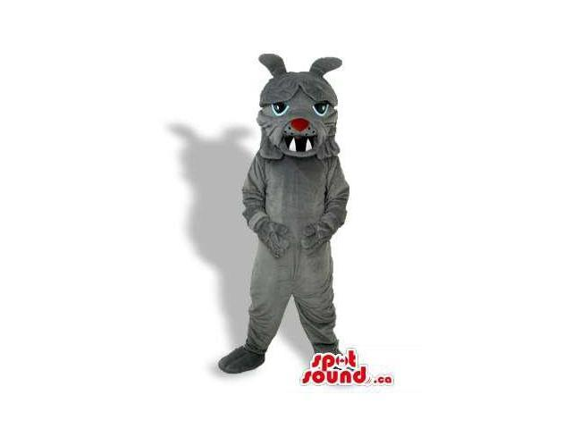 Angry Grey Creature Plush Canadian SpotSound Mascot With Sharp Teeth And Red Nose