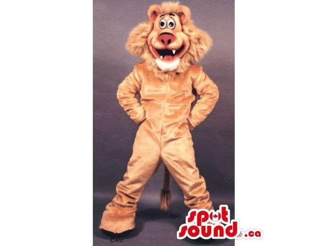 Peculiar Beige Lion Animal Canadian SpotSound Mascot With Pink Nose And Large Hair