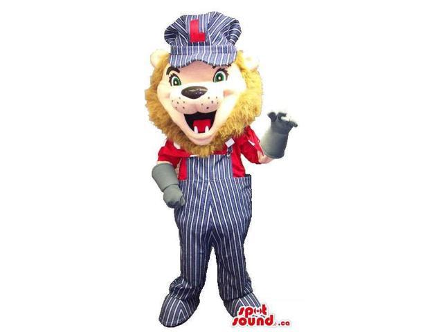 Lion Animal Canadian SpotSound Mascot Dressed In Overalls, Gloves And A Cap With Letter