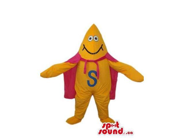 Flashy Yellow Creature Canadian SpotSound Mascot With A Letter And A Pink Cape