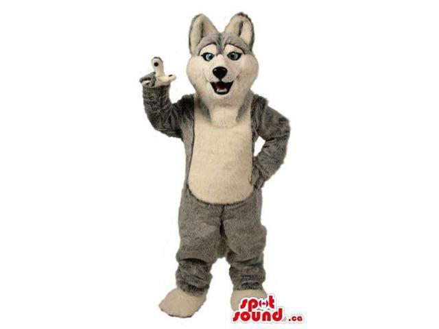 Grey Wolf Animal Plush Canadian SpotSound Mascot With A White Belly And Blue Eyes