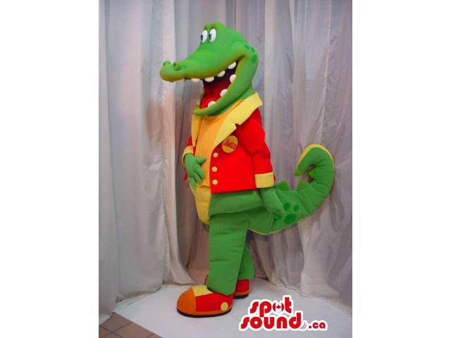 Green Alligator Canadian SpotSound Mascot Dressed In A Red And Yellow Jacket