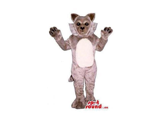 Grey Wildcat Plush Animal Canadian SpotSound Mascot With A White Belly