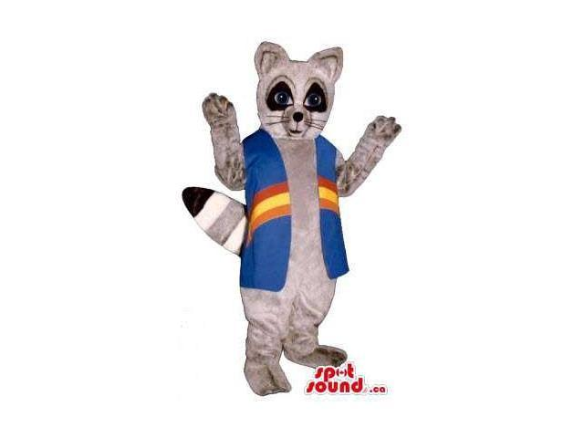 Brown Raccoon Animal Plush Canadian SpotSound Mascot Dressed In A Blue Long Vest