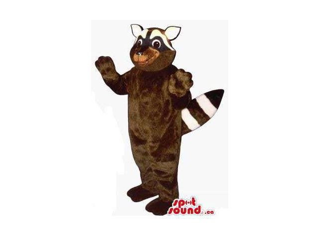 Dark Brown Raccoon Animal Plush Canadian SpotSound Mascot With White Face
