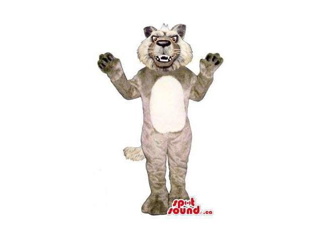 Furious Grey Wildcat Plush Animal Canadian SpotSound Mascot With A White Belly