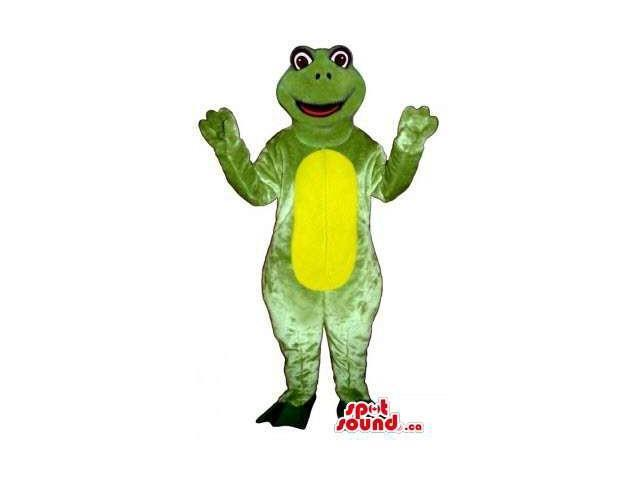 Green Frog Animal Plush Canadian SpotSound Mascot With A Yellow Round Belly