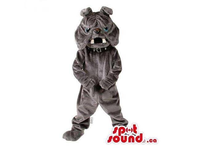 All Grey Bulldog Plush Animal Pet Canadian SpotSound Mascot With White Teeth