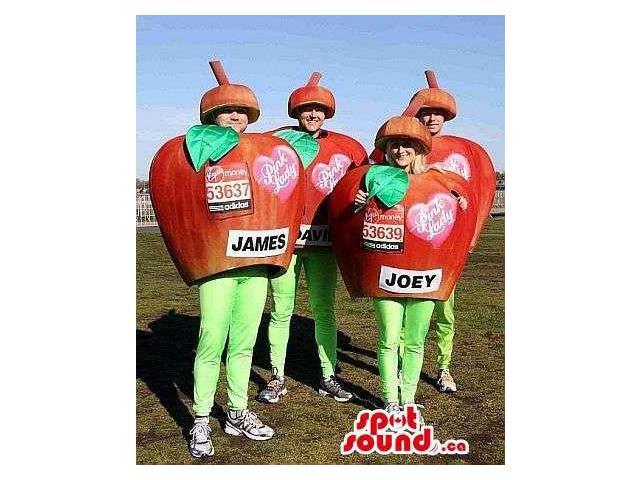 Four Red Apple Group Canadian SpotSound Mascots Or Costumes With Text And Logos