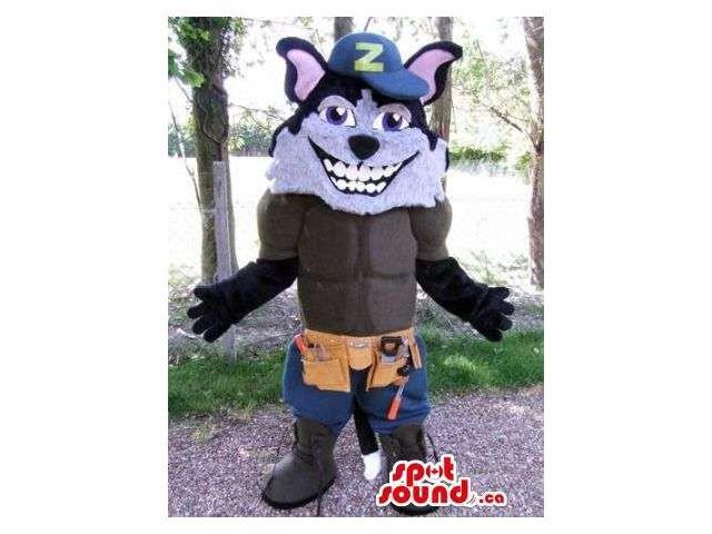 Wolf Animal Canadian SpotSound Mascot Dressed In A Letter Cap And Shorts With Tools