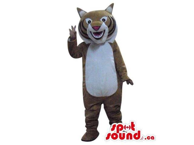 Beige Wildcat Animal Plush Canadian SpotSound Mascot With A White Belly