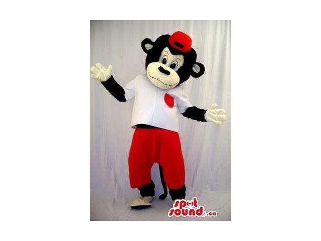 Black Monkey Plush Canadian SpotSound Mascot Dressed In A Red Cap And Pants