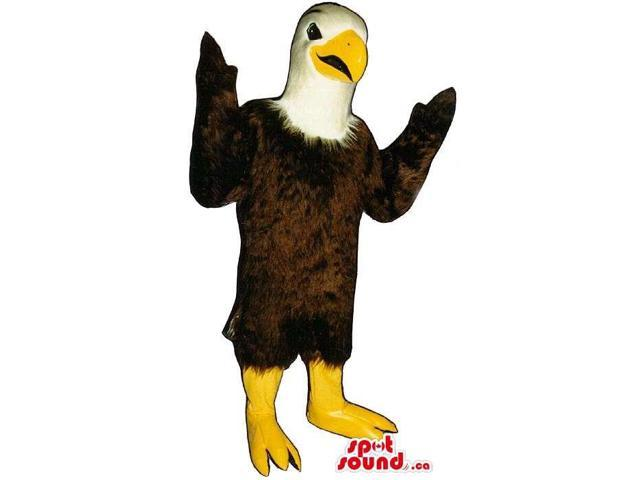 Brown And White Eagle Bird Canadian SpotSound Mascot With Yellow Beak And Legs