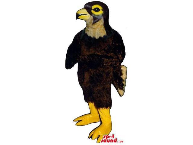 Great Brown Bird Canadian SpotSound Mascot With Yellow Beak And Legs