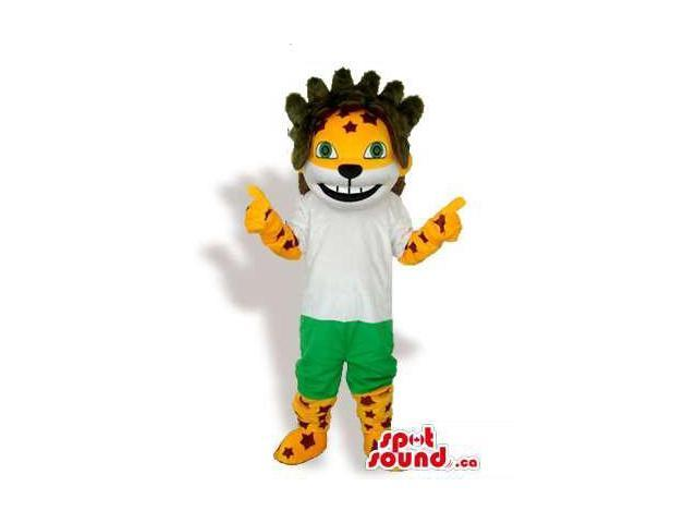Fairy-Tale Tiger Animal Canadian SpotSound Mascot With A Star Dressed In Green Shorts