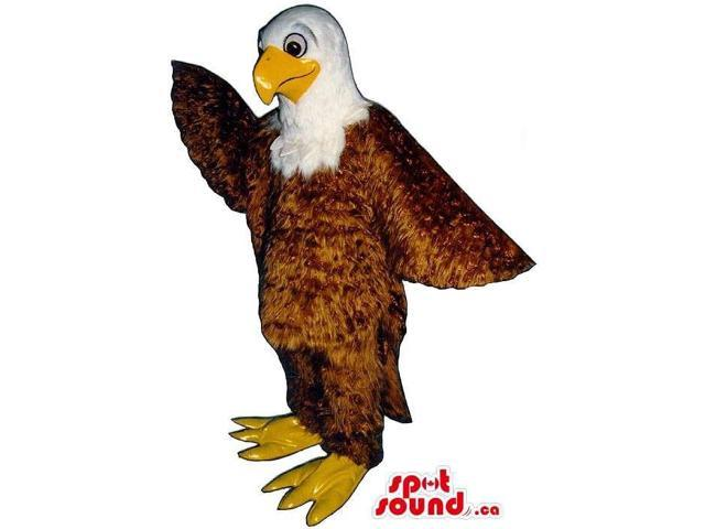 Brown And White Eagle Bird Canadian SpotSound Mascot With Special Shinny Plush