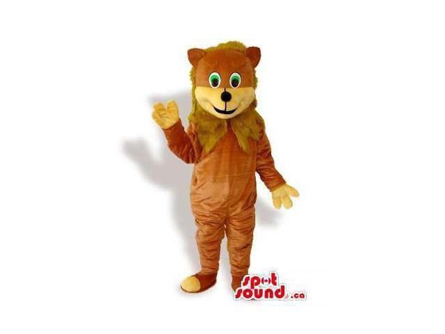 Brown And Yellow Teddy Bear Plush Canadian SpotSound Mascot With Green Eyes