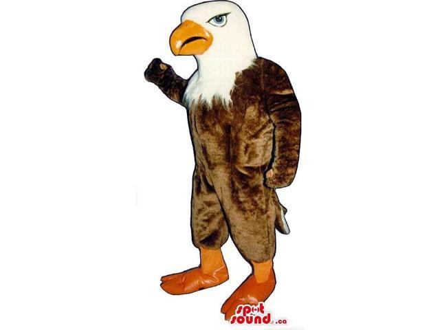 Brown And White American Eagle Canadian SpotSound Mascot With An Orange Beak