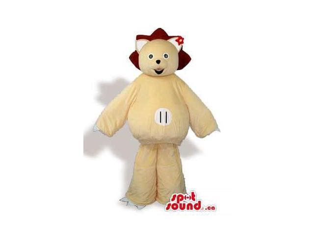 Light Brown Teddy Bear Forest Plush Canadian SpotSound Mascot With A Red Flower