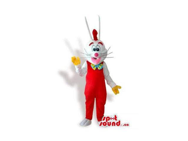 Roger Rabbit Cartoon Character Canadian SpotSound Mascot Dressed In Overalls