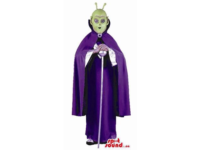 Great Green Alien With Purple Dress Adult Size Peculiar Costume