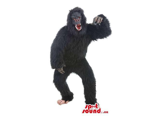 Great Black Woolly Gorilla Plush Canadian SpotSound Mascot With Real-Looking Face