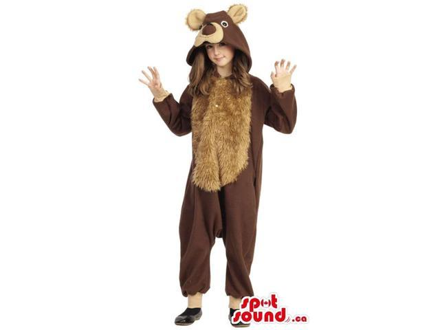 Cute Large Brown And Beige Bear Plush Children Size Costume