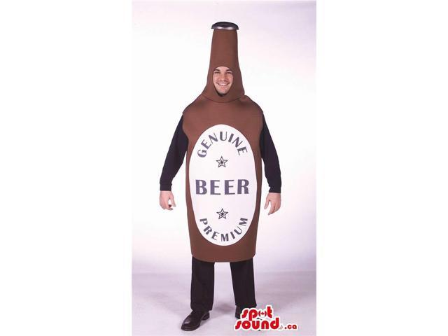 Hilarious Brown Beer Bottle Adult Size Costume With Label