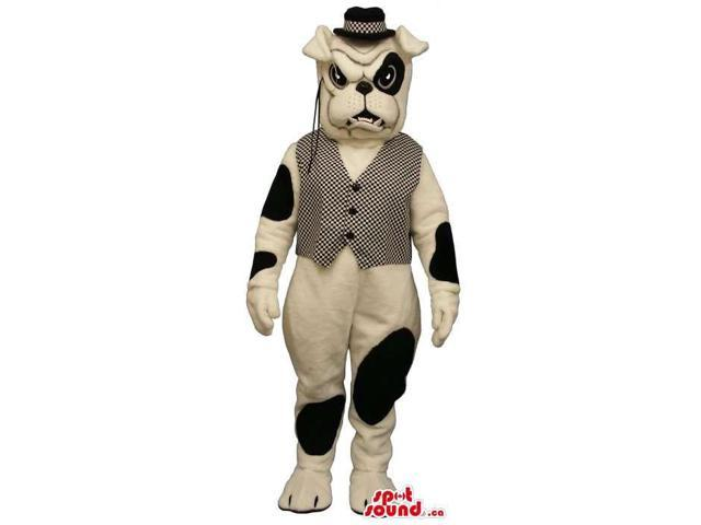 White And Black Bulldog Canadian SpotSound Mascot Dressed In A Vest, Hat And A Monocle