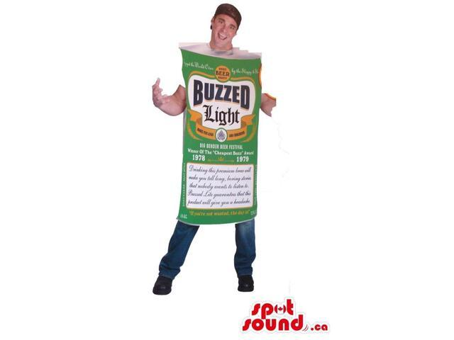 Hilarious Beer Can Adult Size Costume With Label And Logo