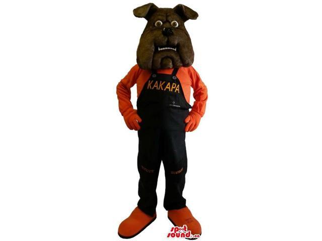 Dark Brown Bulldog Canadian SpotSound Mascot Dressed In Overalls With Text