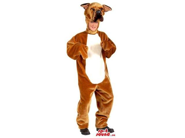Large Brown Dog Adult Size Costume With A Real-Looking Head