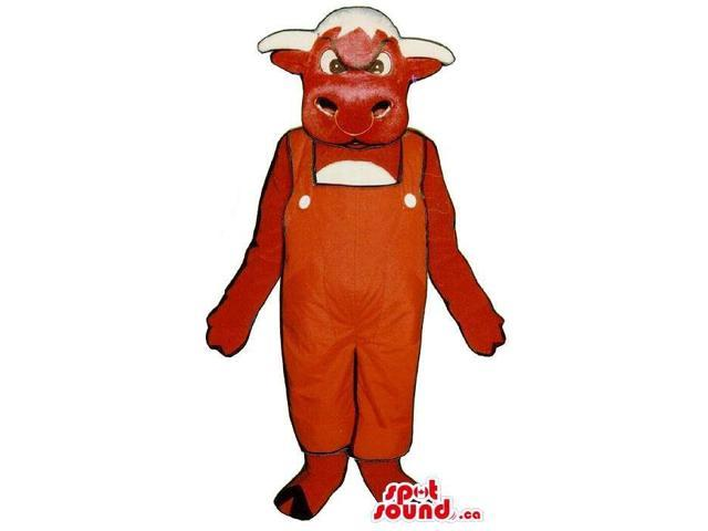 Red And White Cow Animal Canadian SpotSound Mascot Dressed In Red Overalls
