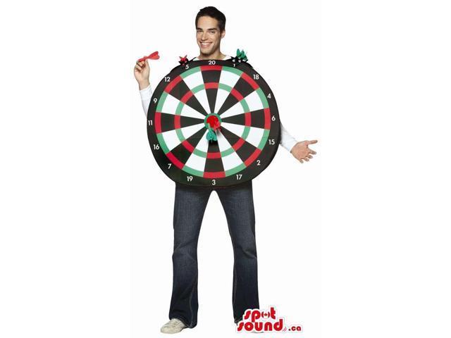 Large Dartboard Adult Size Costume With Plastic Darts