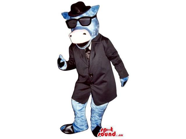 Blue Cow Animal Canadian SpotSound Mascot Dressed In An Elegant Suit And Sunglasses