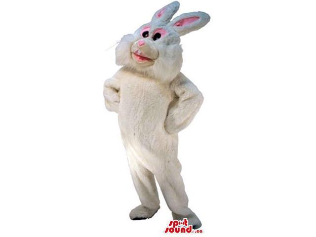 Cute White Rabbit Plush Canadian SpotSound Mascot With Pin Ears And Nose