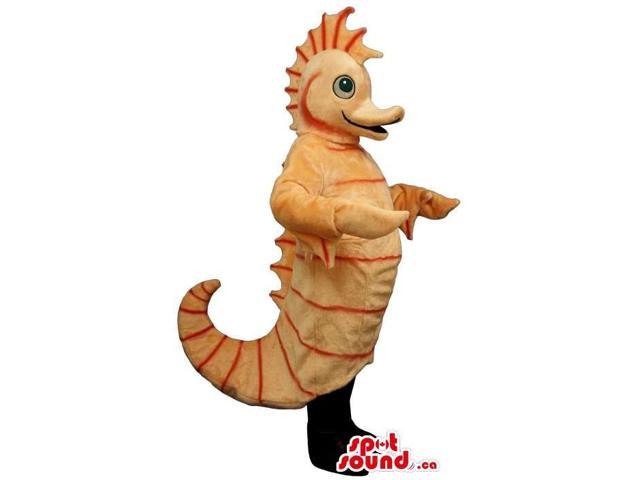 Customised Light Orange Plush Seahorse Canadian SpotSound Mascot With Curled Tail