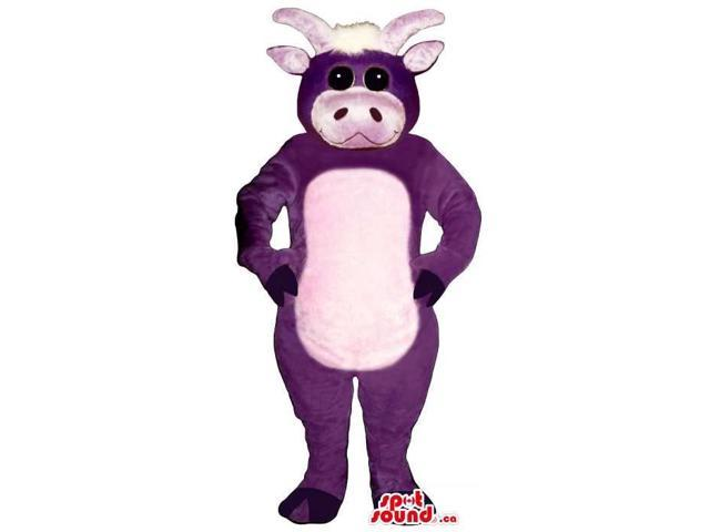 Cute Purple Cow Animal Plush Canadian SpotSound Mascot With A White Belly