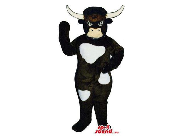 Angry White And Black Cow Animal Plush Canadian SpotSound Mascot With Long Horns