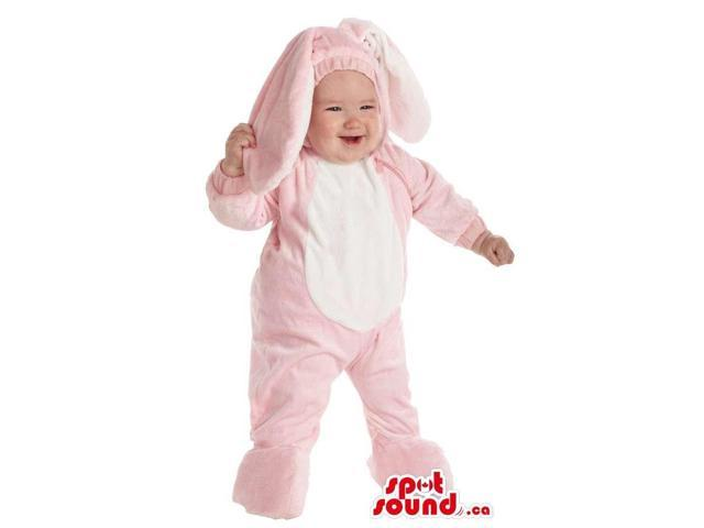 Cute Pink And White Bunny Child Size Plush Costume